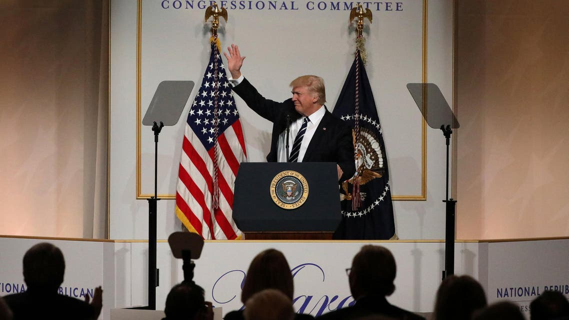 U.S. President Donald Trump delivers remarks at the National Republican Congressional Committee March Dinner in Washington, U.S., March 21, 2017