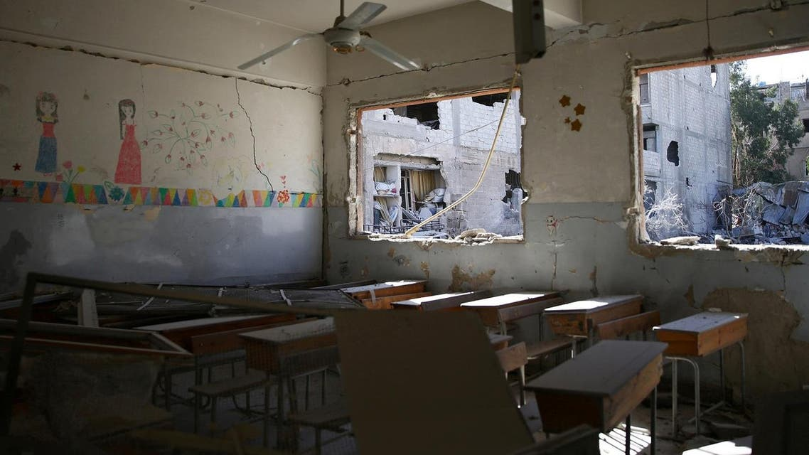 A damaged classroom is pictured after airstrikes in Syria. (File Photo: Reuters)