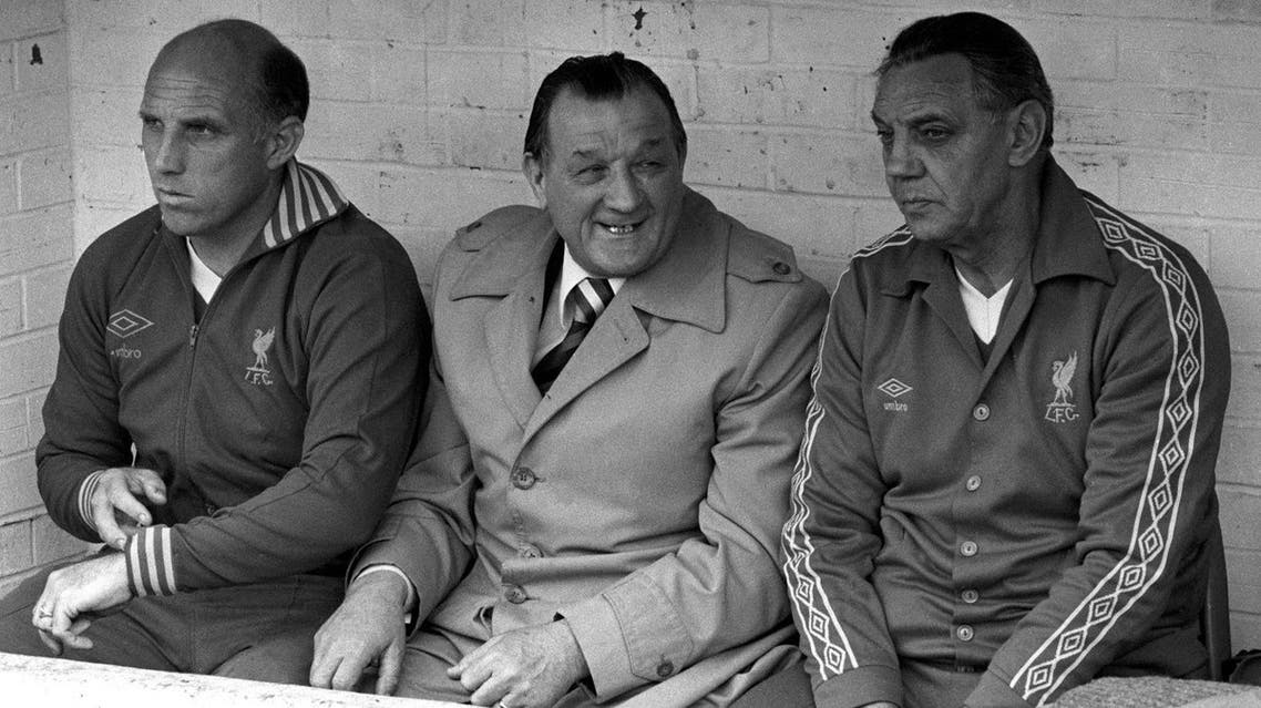 Liverpool manager Bob Paisley, centre is flanked by trainer Ronnie Moran, left and assistant manager Joe Fagan, in Liverpool. (AP)