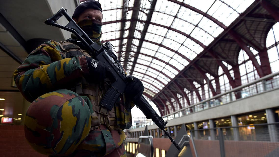 A Belgian soldier patrols in the central station, in Antwerp, Belgium March 3, 2017