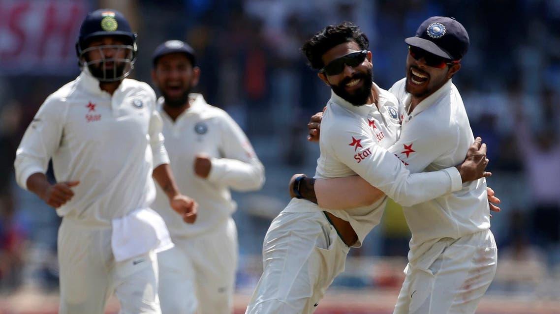 Cricket - India v Australia - Third Test cricket match - Jharkhand State Cricket Association Stadium, Ranchi, India - 20/03/17 - India's Ravindra Jadeja (2nd R) celebrates with his teammates after dismissing Australia's captain Steven Smith. REUTERS/Adnan Abidi