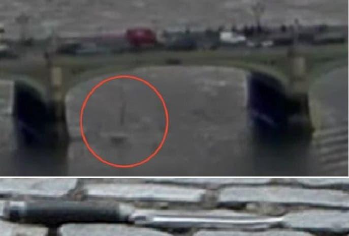 صورة من الفيديو للملقية بنفسها إلى النهر، وثانية للسكين التي طعن بها الشرطي الذي ترك أرملة وابنين