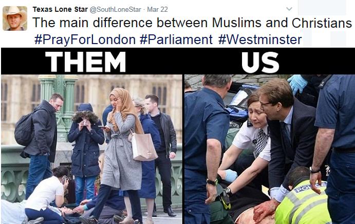 تويتري أميركي قارن بين صورتها وصورة وزير انهمك بإسعاف شرطي بريطاني تلقى من الإرهابي طعنتين