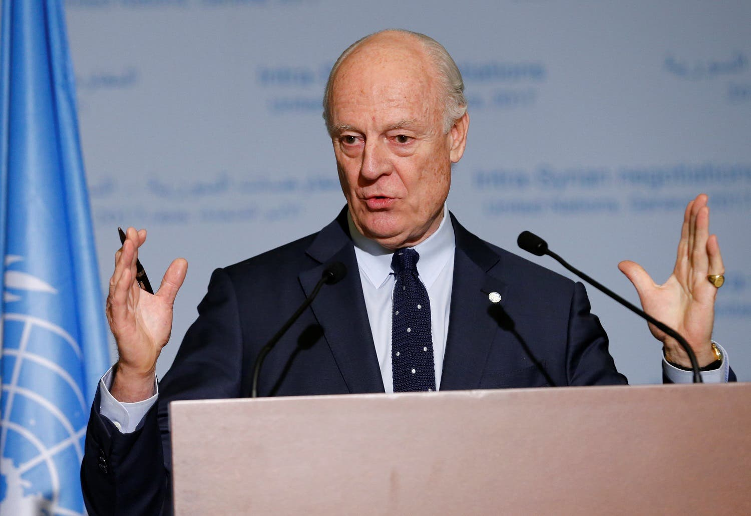 UN Special Envoy of the Secretary-General for Syria Staffan de Mistura attends a news conference after meetings during the Intra Syria talks at the European headquarters of the UN in Geneva. (Reuters)