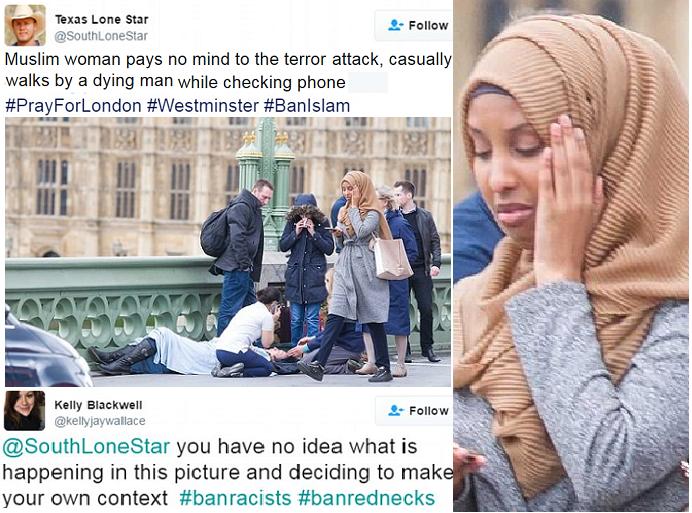 وهاجمها التويتري من تكساس، بأنها لا تهتم للهجوم وضحاياه، فدافعت عنها أخرى. كما أن وجهها بدا متجهماً