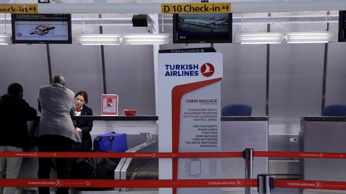 A sign for Turkish Airlines stands near the counters inside of JFK International Airport in New York