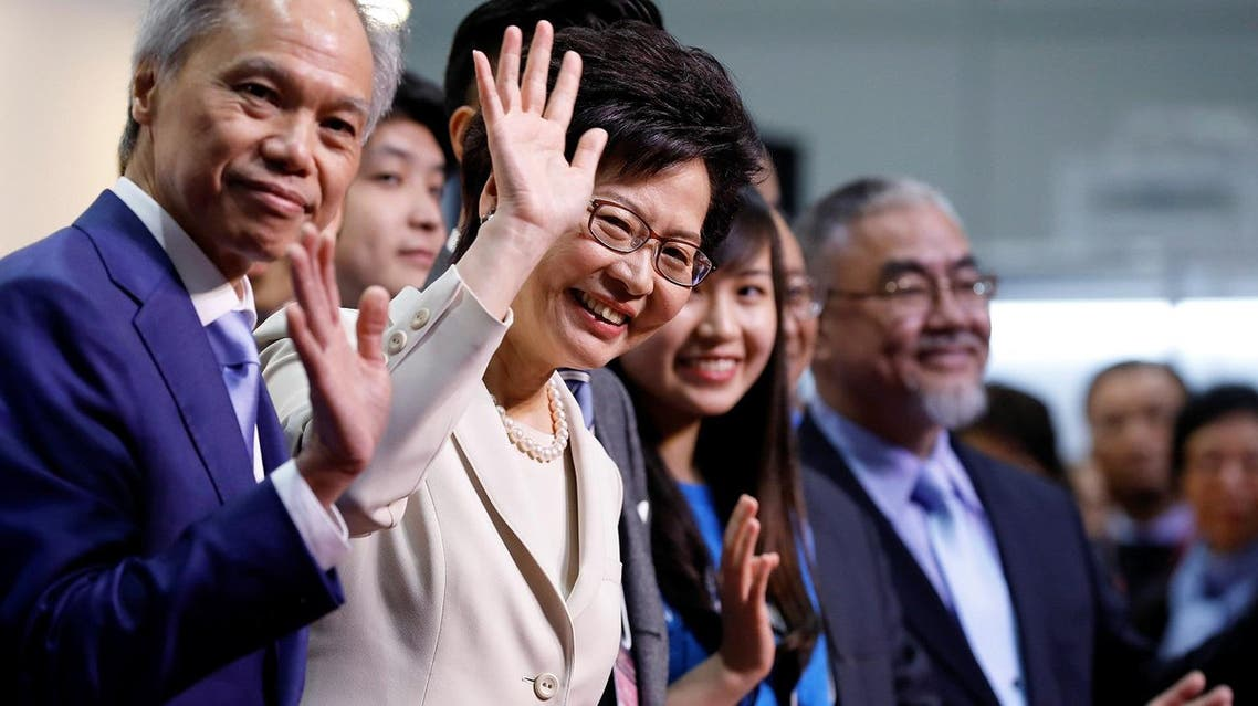 Carrie Lam waves during news conference after she won the election for Hong Kong's Chief Executive in Hong Kong. (Reuters)