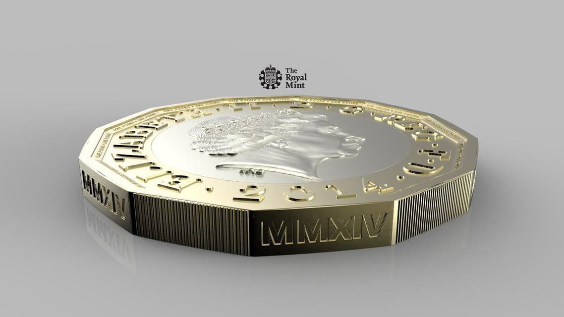 """A recent undated handout picture released by the British Royal Mint on March 19, 2014 shows the new twelve-sided 1 pound coin, the design for which is based on the three pence piece or """"Threepenny bit"""". Britain announced on March 19 it was ditching the 1 pound coin it has used for the past three decades and replacing it with a 12-sided piece that will be harder to fake. The Treasury says the new coin, made of two metals in two different colours, will be """"the most secure coin in circulation in the world"""". RESTRICTED TO EDITORIAL USE - MANDATORY CREDIT """" AFP PHOTO / ROYAL MINT - NO MARKETING NO ADVERTISING CAMPAIGNS - DISTRIBUTED AS A SERVICE TO CLIENTS Royal Mint / AFP"""