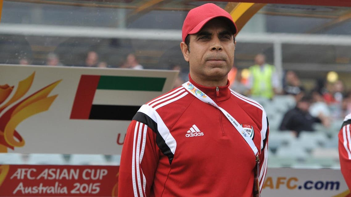 Mahdi Ali Hassan, coach of the UAE looks on during the sixth round Asian Cup football match between UAE and Qatar in Canberra on January 11, 2015. AFP