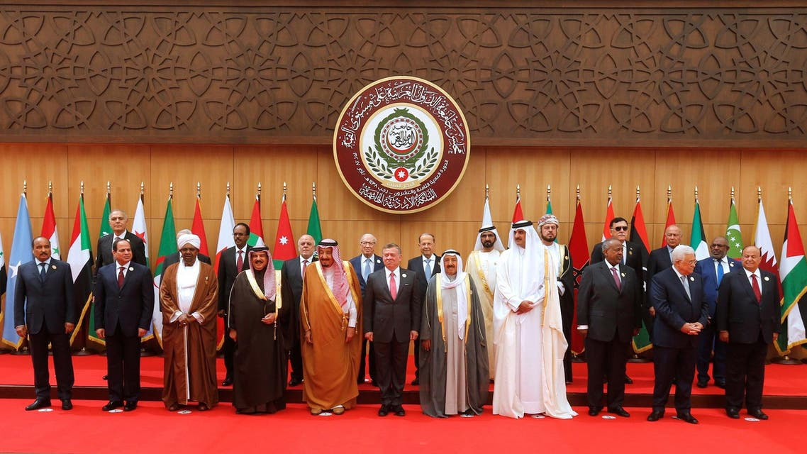 Arab leaders and head of delegations pose for a group photograph during the 28th Ordinary Summit of the Arab League at the Dead Sea, Jordan March 29, 2017. REUTERS/Mohammad Hamed