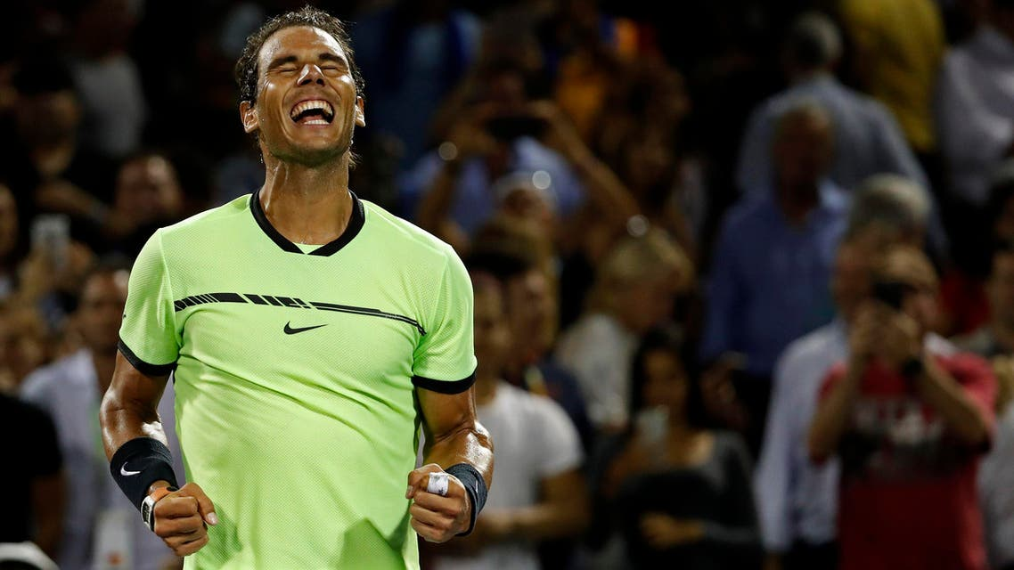 Rafael Nadal of Spain celebrates after his match against Jack Sock of the United States (not pictured) on day nine of the 2017 Miami Open at Crandon Park Tennis Center. (Reuters)
