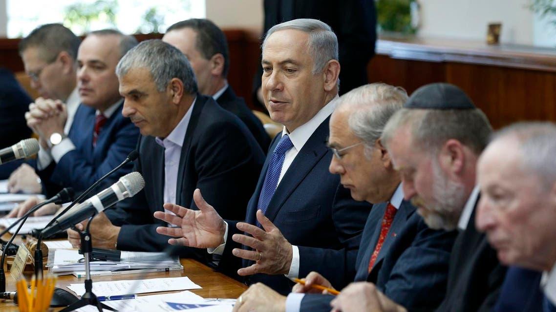 Israeli Prime Minister Benjamin Netanyahu (C) speaks during the weekly cabinet meeting in Jerusalem, on January 31, 2016. AFP