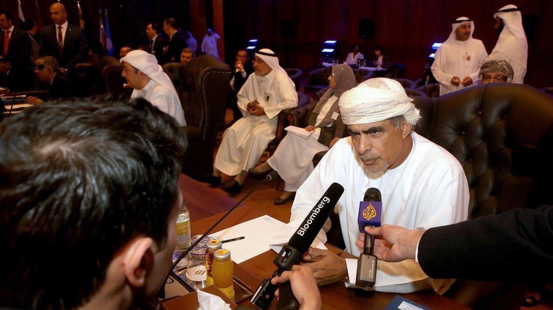 Oman's Oil and Gas Minister Mohamed al-Rumhi (right) speaks to the press during a meeting for the 2nd Joint Ministerial Monitoring Committee of OPEC, in Kuwait City, on March 26, 2017. (AFP)
