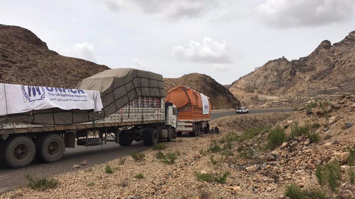 مواد إغاثة أممية على طريق ذمار اليمن غذاء أغذية مساعدات