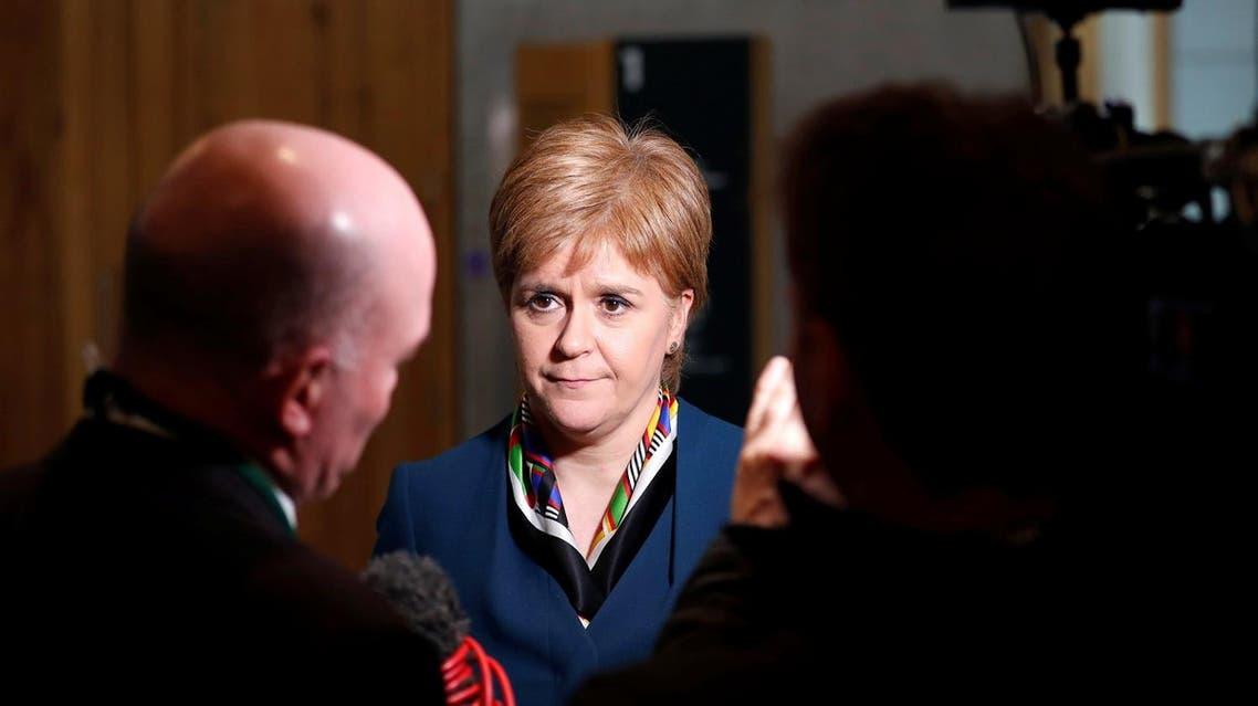Scotland's First Minister Nicola Sturgeon gives a TV interview in Parliament in Edinburgh, Scotland, Britain March 29, 2017. REUTERS
