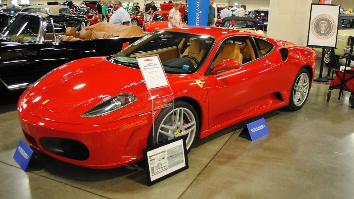 A Ferrari F430 owned by US president Donald J. Trump in 2007 is exhibited by Autcions America in Fort Lauderdale, Florida on March 31, 2017.
