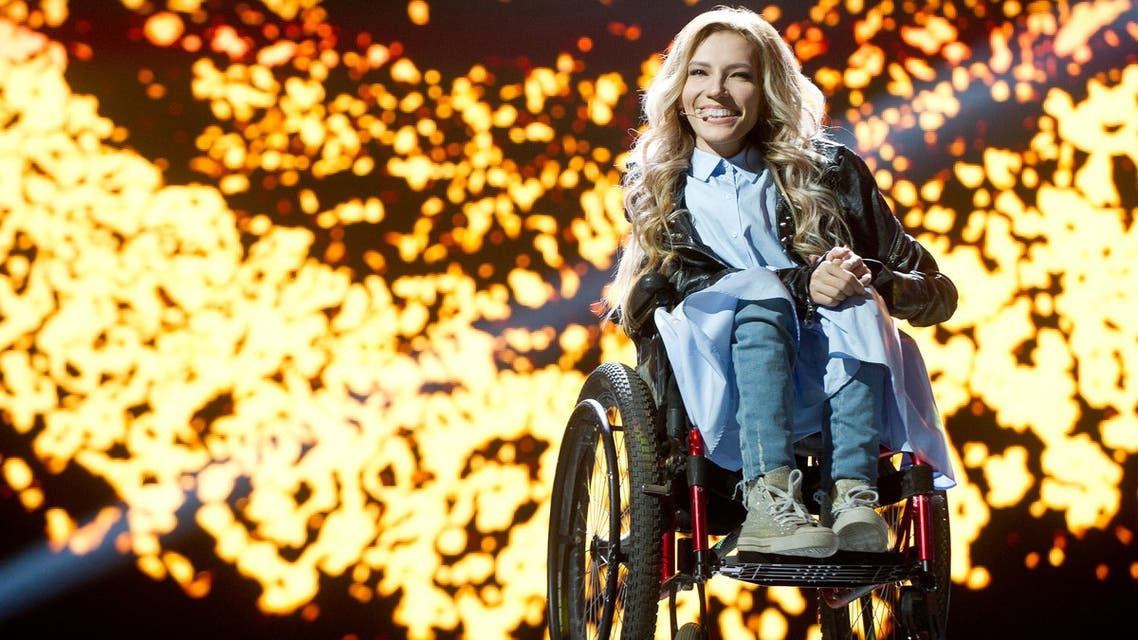 A handout photo taken on March 11, 2017 in Moscow and provided by Russia's Channel One press service shows Russian singer Yuliya Samoilova.
