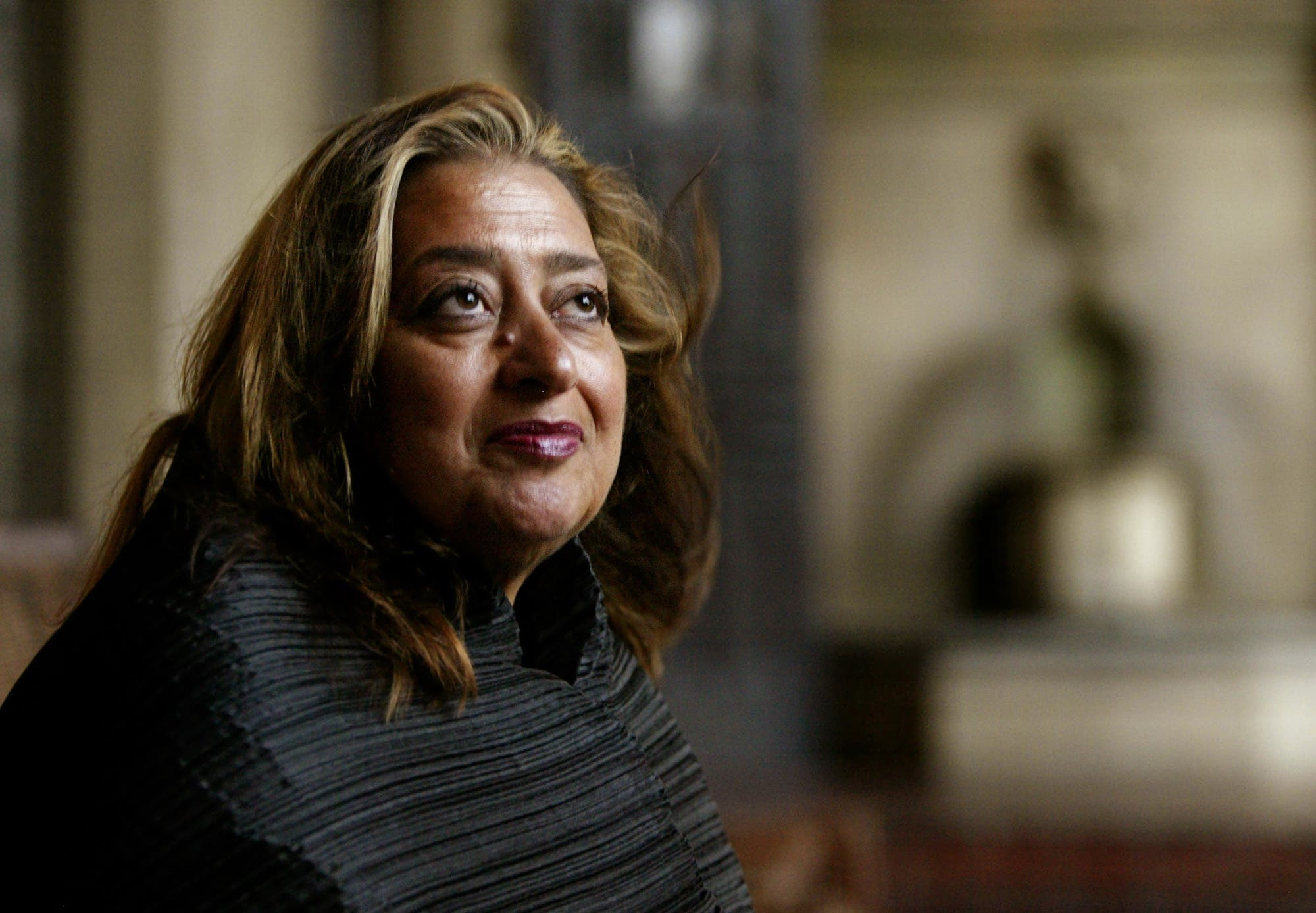 Pritzker Architecture Prize winner for 2004 Zaha Hadid poses Sunday, March 14, 2004, in West Hollywood, California. (AP)