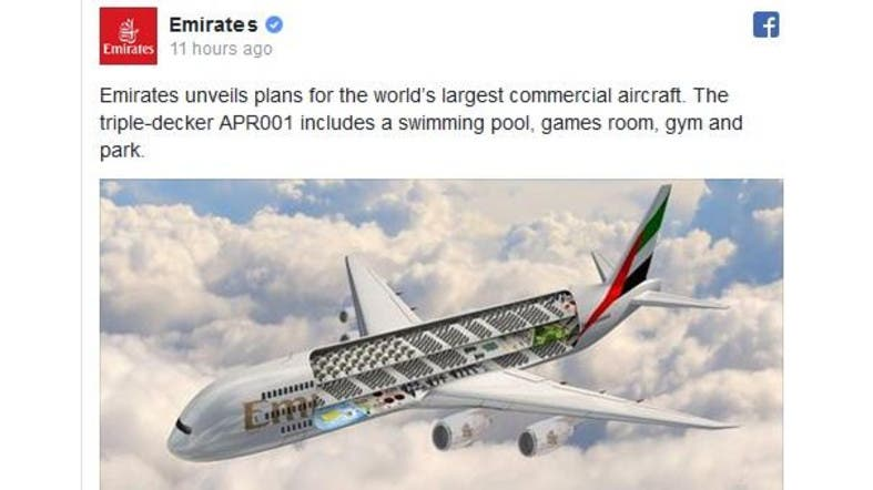 Triple Decker Plane With A Pool An April Fool S Joke From Emirates Al Arabiya English
