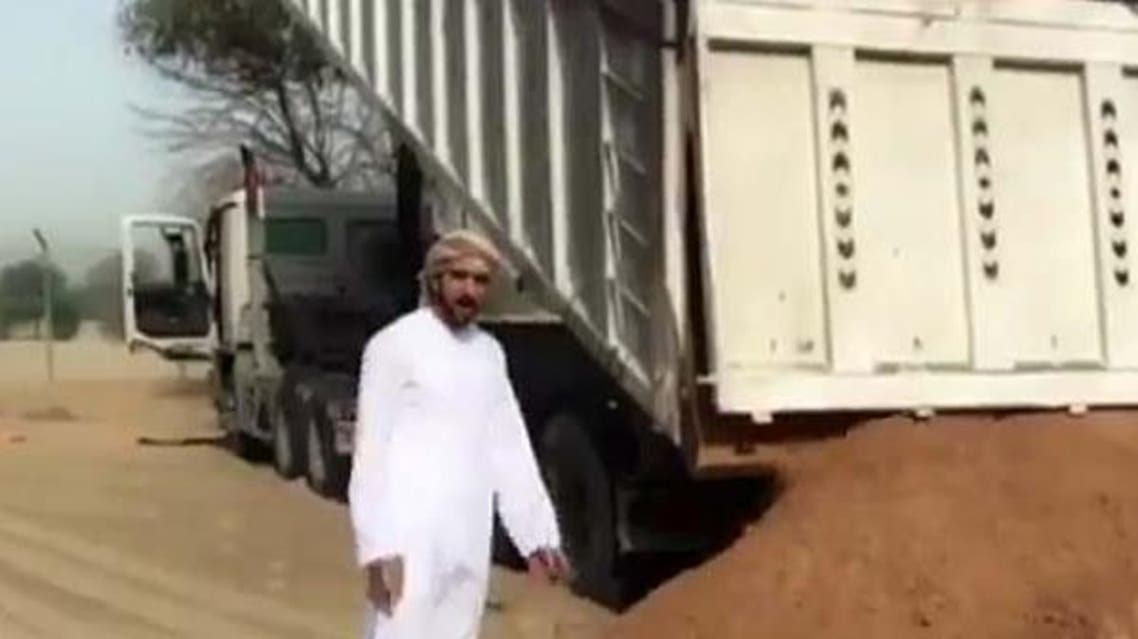 The video shows the Sheikh pulling out the heavy sand-filled vehicle with a cord attached to his black G-class Mercedes. (Instagram)