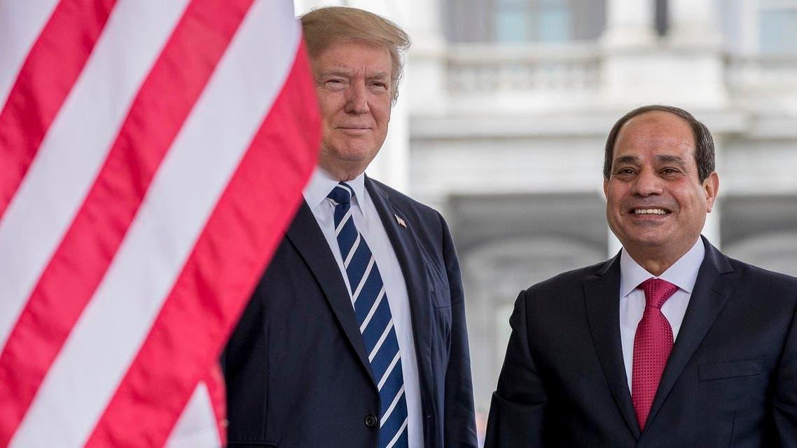 President Donald Trump greets Egyptian President Abdel Fattah Al-Sisi as he arrives at the White House. (AP)