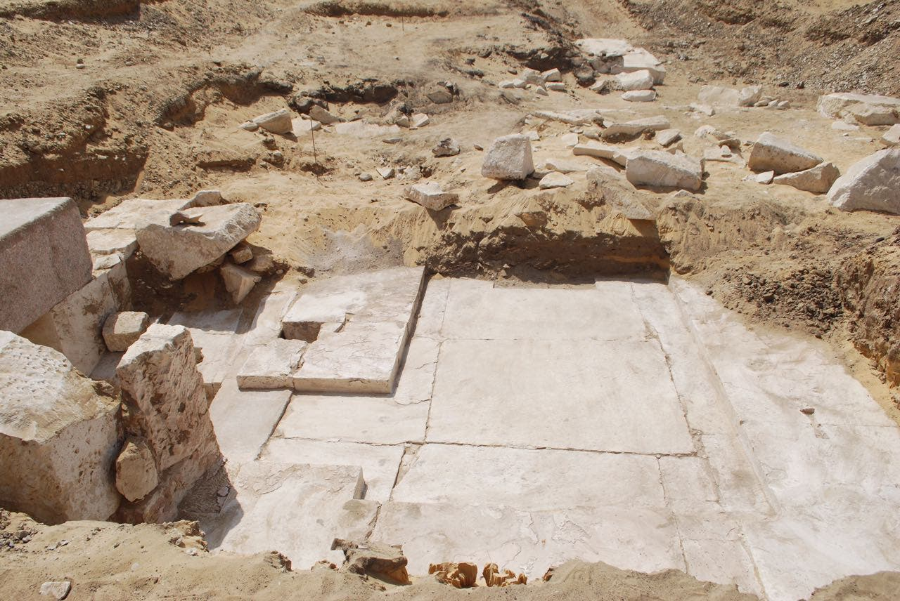 A handout picture released by the Egyptian Ministry of Antiquities on April 3, 2017, shows the remains of an ancient Egyptian pyramid that were discovered near the well-known bent pyramid of King Snefru in Dahshur, some 30 kilometres (20 miles) south of Cairo. (AFP)