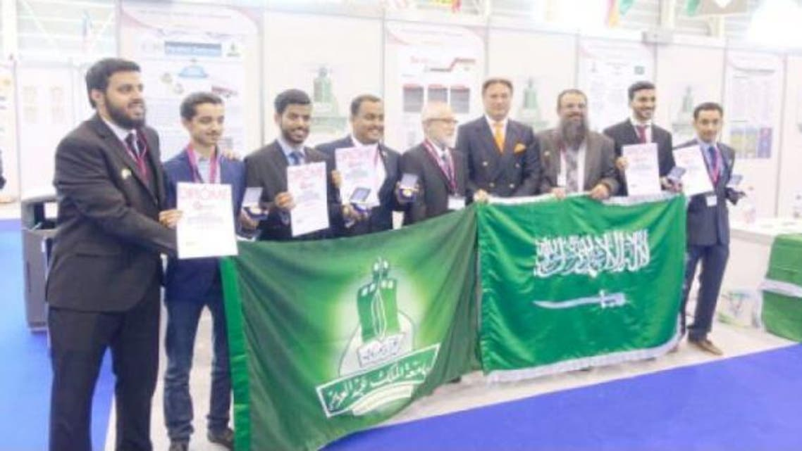 Five Saudi students who won awards for their innovate technologies in International Exhibition of Inventions in Geneva, Switzerland. — Courtesy photo