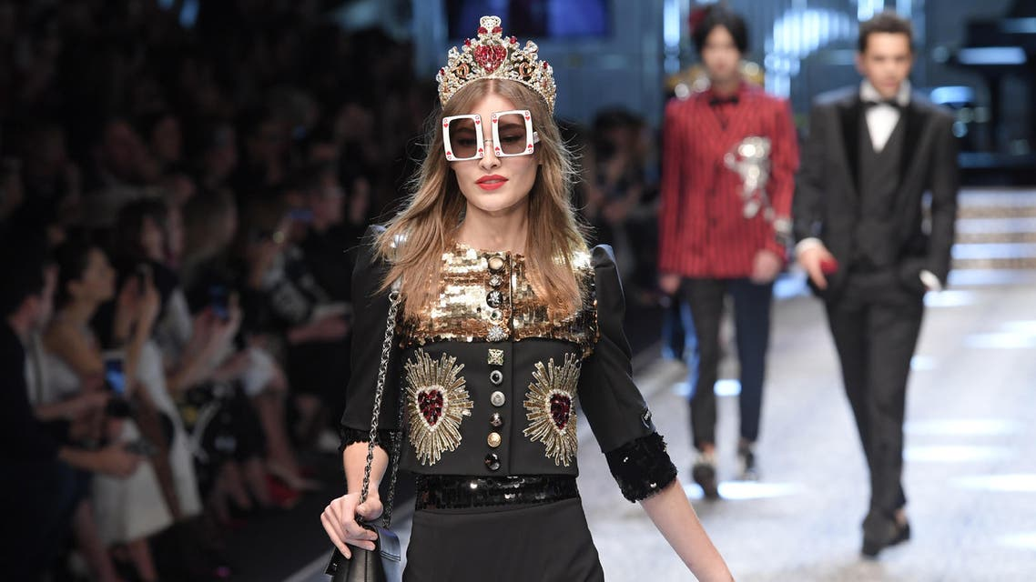 A model presents a creation for fashion house Dolce & Gabbana during the Women's Fall/Winter 2017/2018 fashion week in Milan, on February 26, 2017. (AFP)