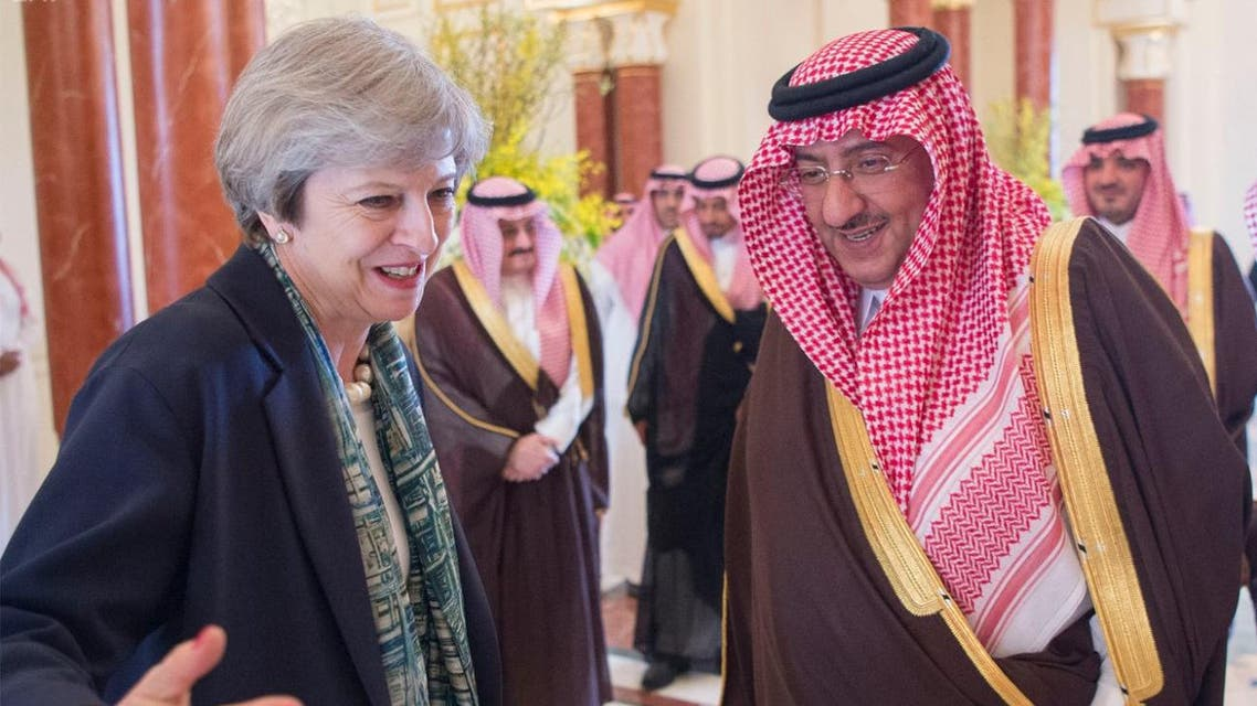 Saudi Arabia's Crown Prince Mohammed bin Nayef greets British Prime Minister Theresa May. (SPA)