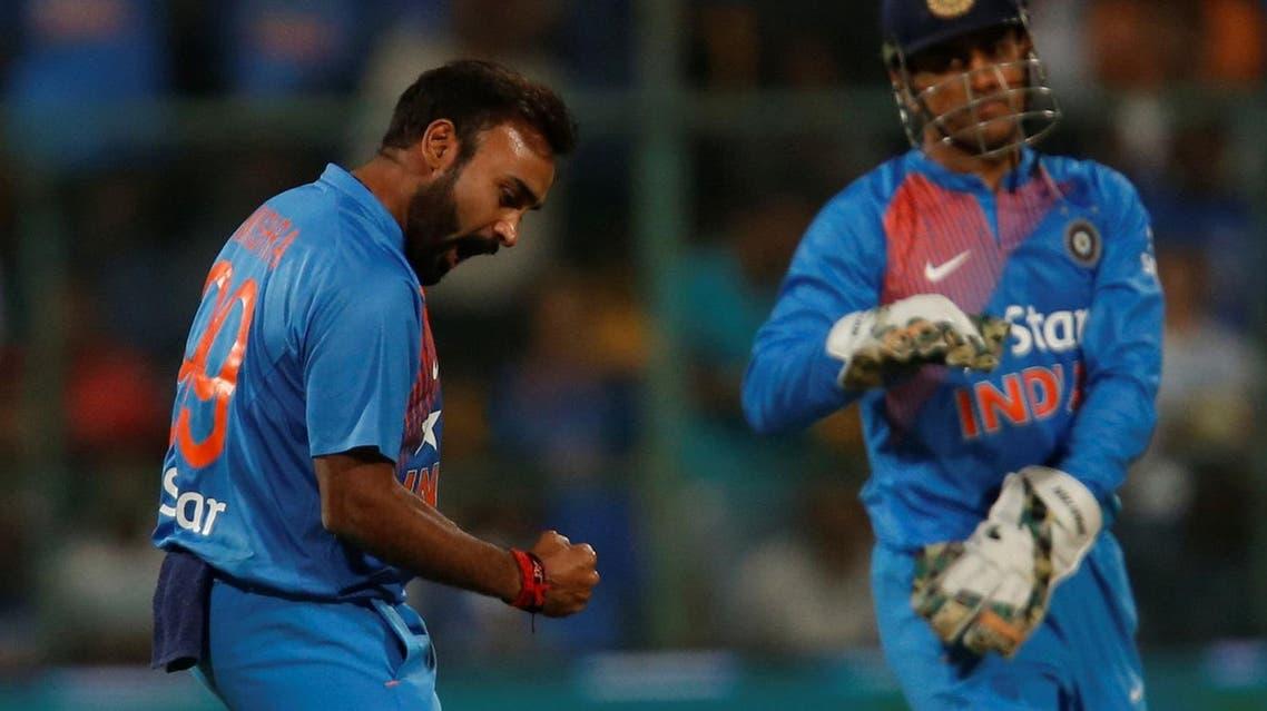 Cricket - India v England - Third T20 International - M Chinnaswamy Stadium, Bengaluru, India - 01/02/17. India's Amit Mishra celebrates the wicket of England's Jason Roy. REUTERS/Danish Siddiqui