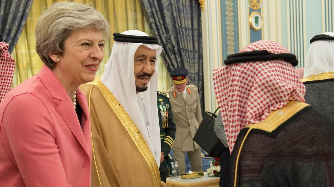 British Prime Minister Theresa May is welcomed as Saudi Arabia's King Salman bin Abdulaziz Al Saud stands next to her in Riyadh, on April 5, 2017. (Courtesy of Saudi Royal Court/Handout via Reuters)