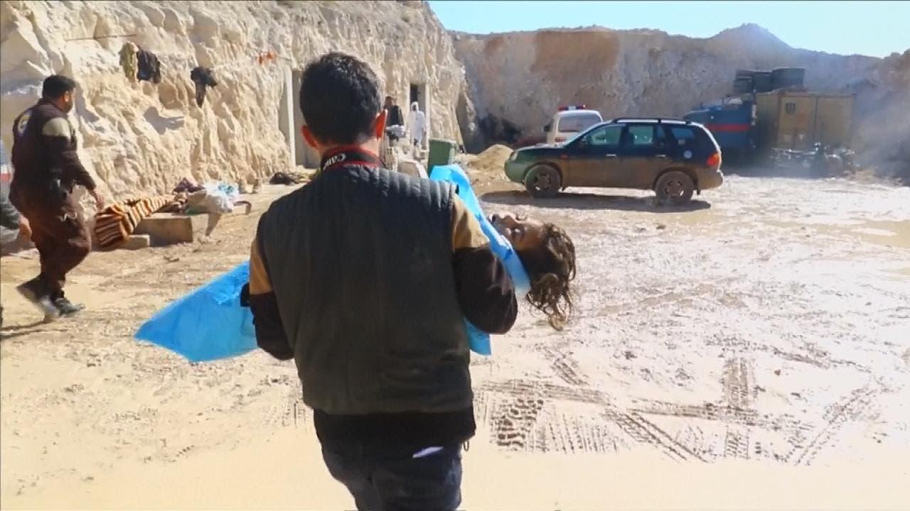 بلدة خان شيخون في ادلب شهدت مجزرة سابقة  من جراء القصف بالكيمياوي