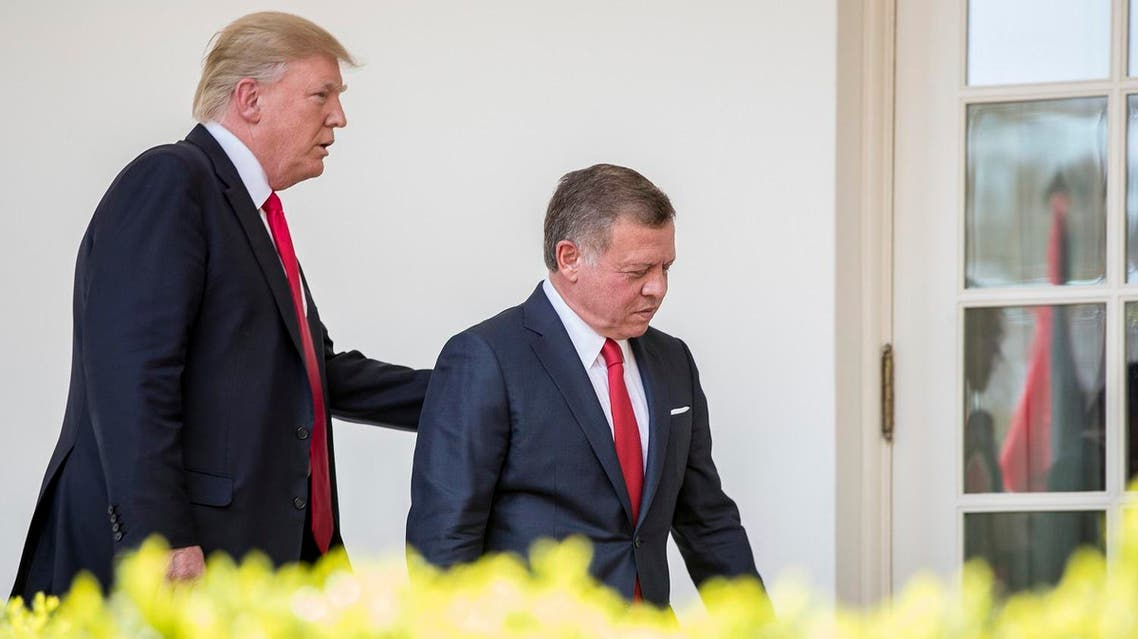 President Donald Trump and Jordan's King Abdullah II walk through the colonnade after holding a news conference in the Rose Garden at the White House, Wednesday, April 5, 2017, in Washington. (AP)