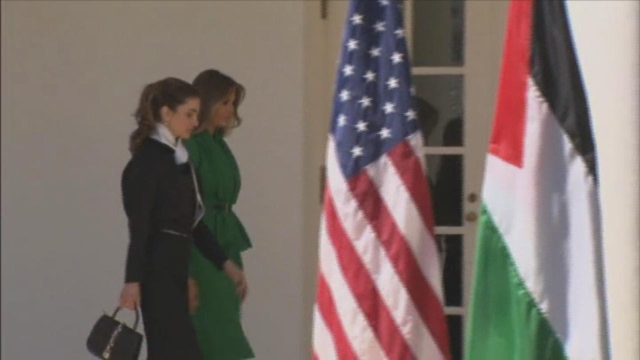 ملکه رانيا و ميلانيا ترمپ در کاخ سفید