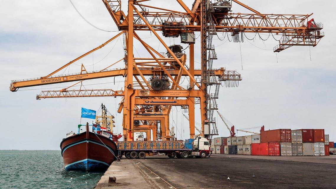سفينة تحمل علم اليونيسيف في ميناء الحديدة اليمني