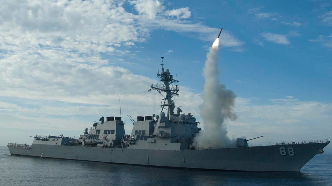 In this image obtained from the US Navy, the guided-missile destroyer USS Preble conducts an operational tomahawk missile launch while underway in a training area off the coast of California, on September 29, 2010. (AFP)