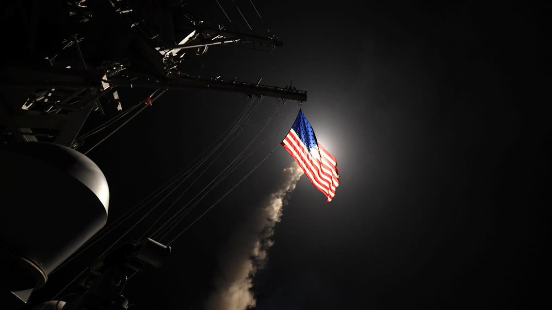 U.S. Navy guided-missile destroyer USS Porter (DDG 78) conducts strike operations while in the Mediterranean Sea which U.S. Defense Department said was a part of cruise missile strike against Syria on April 7, 2017. (Reuters
