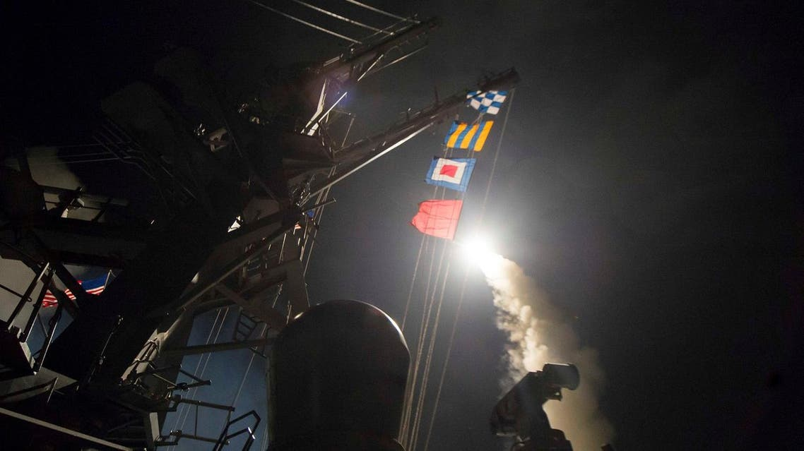 US Navy guided-missile destroyer USS Ross (DDG 71) fires a tomahawk land attack missile in Mediterranean Sea on April 7, 2017. (Reuters)