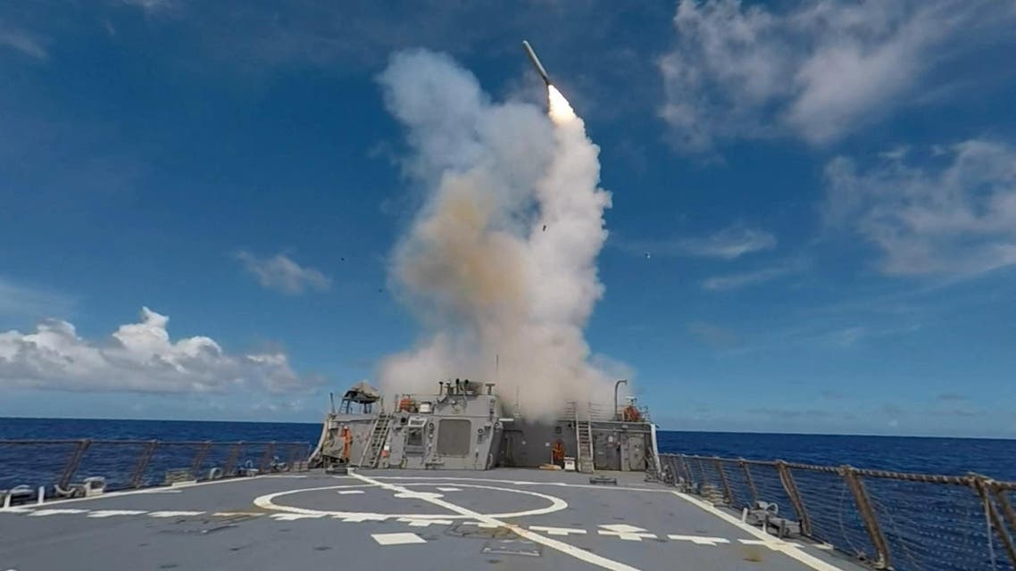 In this image obtained from the US Navy, a Tomahawk Missile is launched from the Arleigh Burke-class guided-missile destroyer USS Stethem during the biennial Valiant Shield, field-training exercise, on September 20, 2016. (AFP)