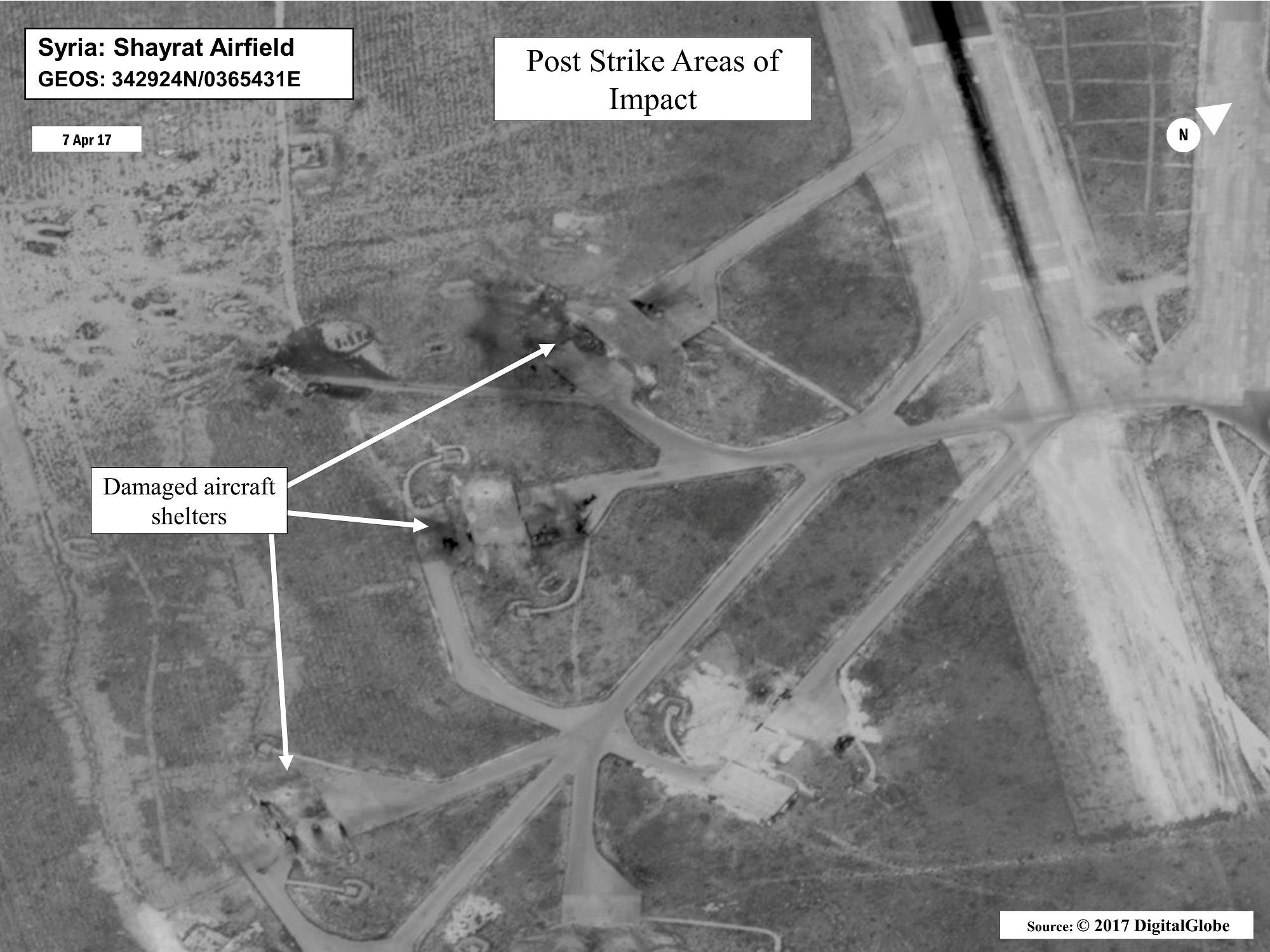 Battle damage assessment image of Shayrat Airfield, Syria, is seen in this DigitalGlobe satellite image, released by the Pentagon following U.S. Tomahawk Land Attack Missile strikes. (Reuters)