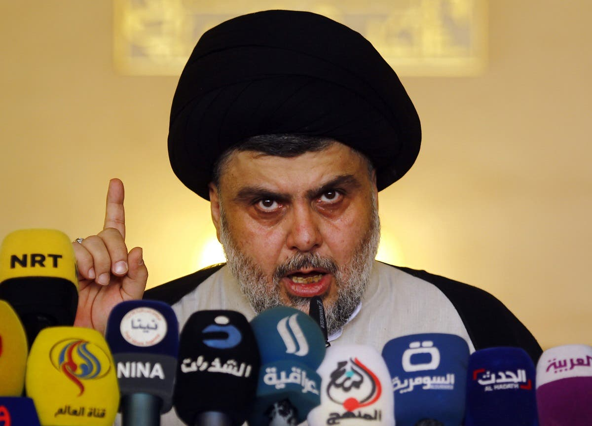 Iraqi Shiite cleric Moqtada al-Sadr delivers a speech during Friday prayer at the Great Mosque of Kufa in the city of the same name. (AFP)