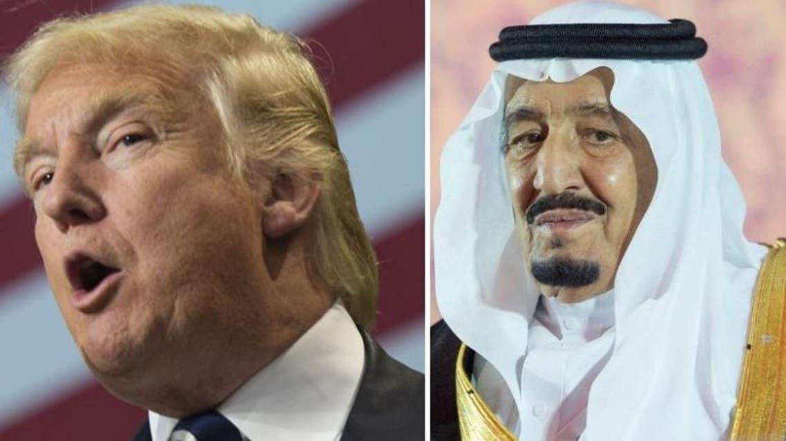 King Salman (R) and Donald Trump (L) spoke on Saturday (File Photos: SPA/ AFP)