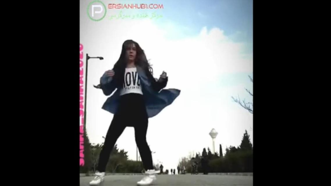The girl, who uses her phone to record herself dancing, has also danced in other public places, including parks and popular streets in Tehran. (Screengrab)