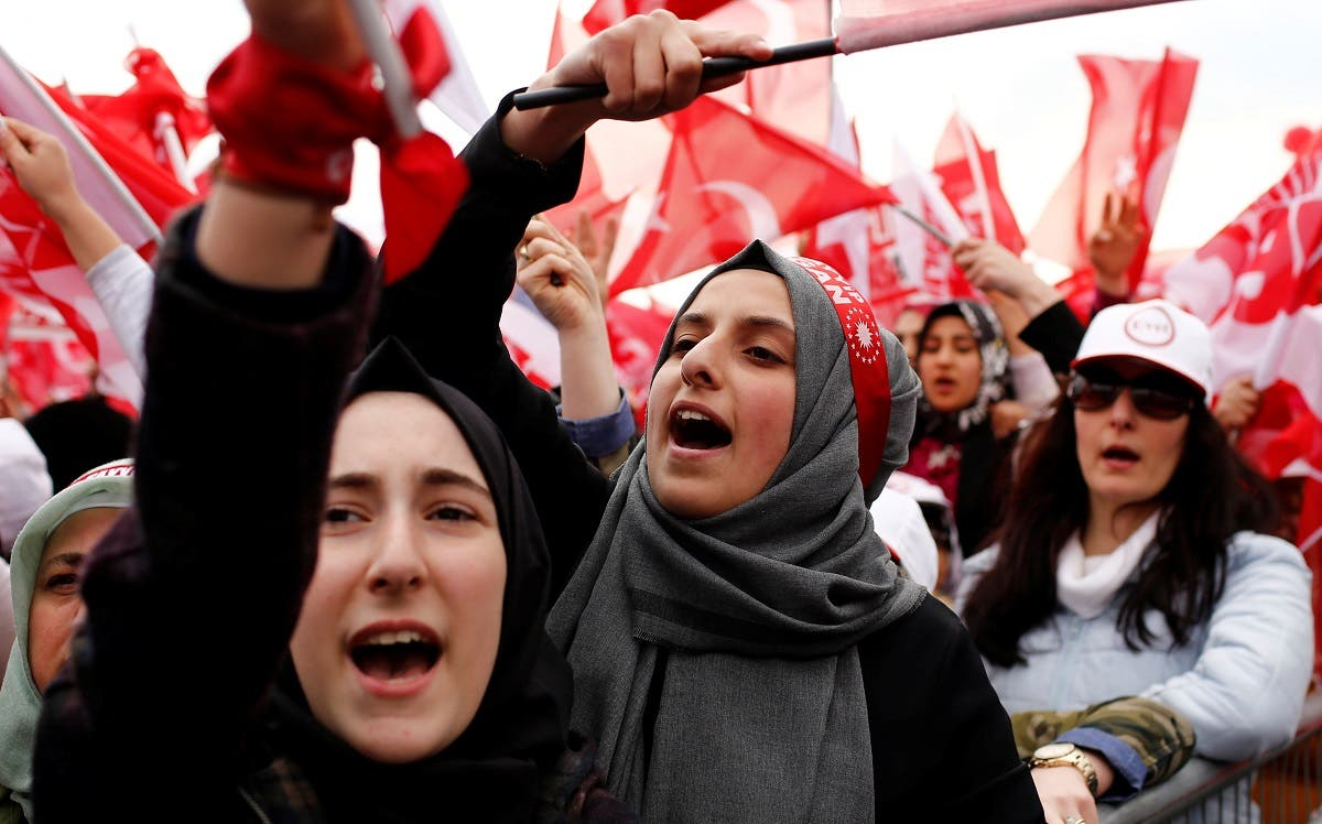 Supporters of Turkish President Tayyip Erdogan cheer during a rally for the upcoming referendum in Istanbul. (Reuters)