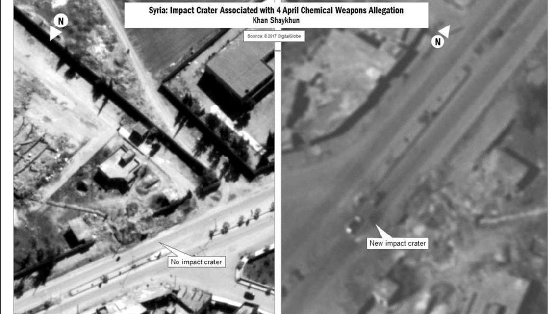 A combination image released by the U.S. Department of Defense which they say shows the impact crater associated with April 4, 2017 Chemical Weapons Allegation released after U.S. cruise missile strike against Syria on April 7, 2017. (Reuters)