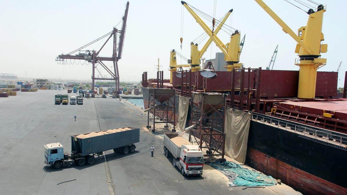A ship unloads grain at the Red Sea port of Hodeidah, Yemen, March 23, 2017.