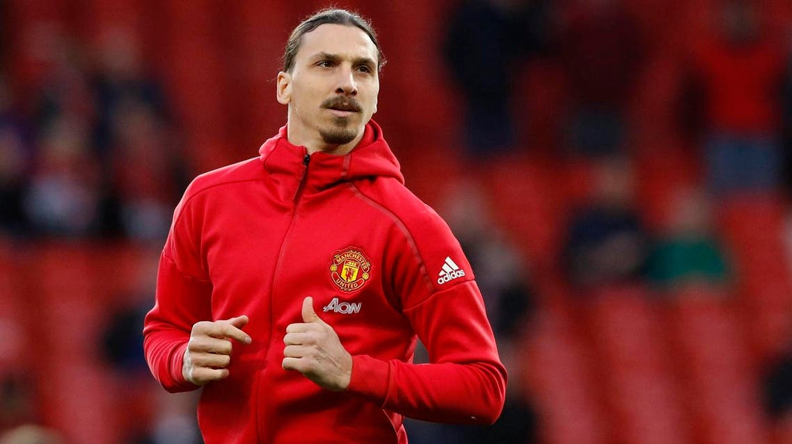Manchester United's Zlatan Ibrahimovic warms up before the English Premier League soccer match between Manchester United and Everton at Old Trafford in Manchester, England, Tuesday April 4, 2017. (AP)