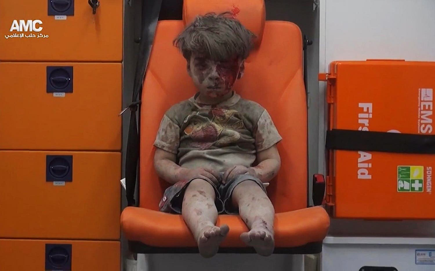 Five-year-old Omran Daqneesh sits in an ambulance after being pulled out of a building hit by an airstrike in Aleppo, Syria, on Aug. 17, 2016 (File Photo: AFP/Aleppo Media Center)
