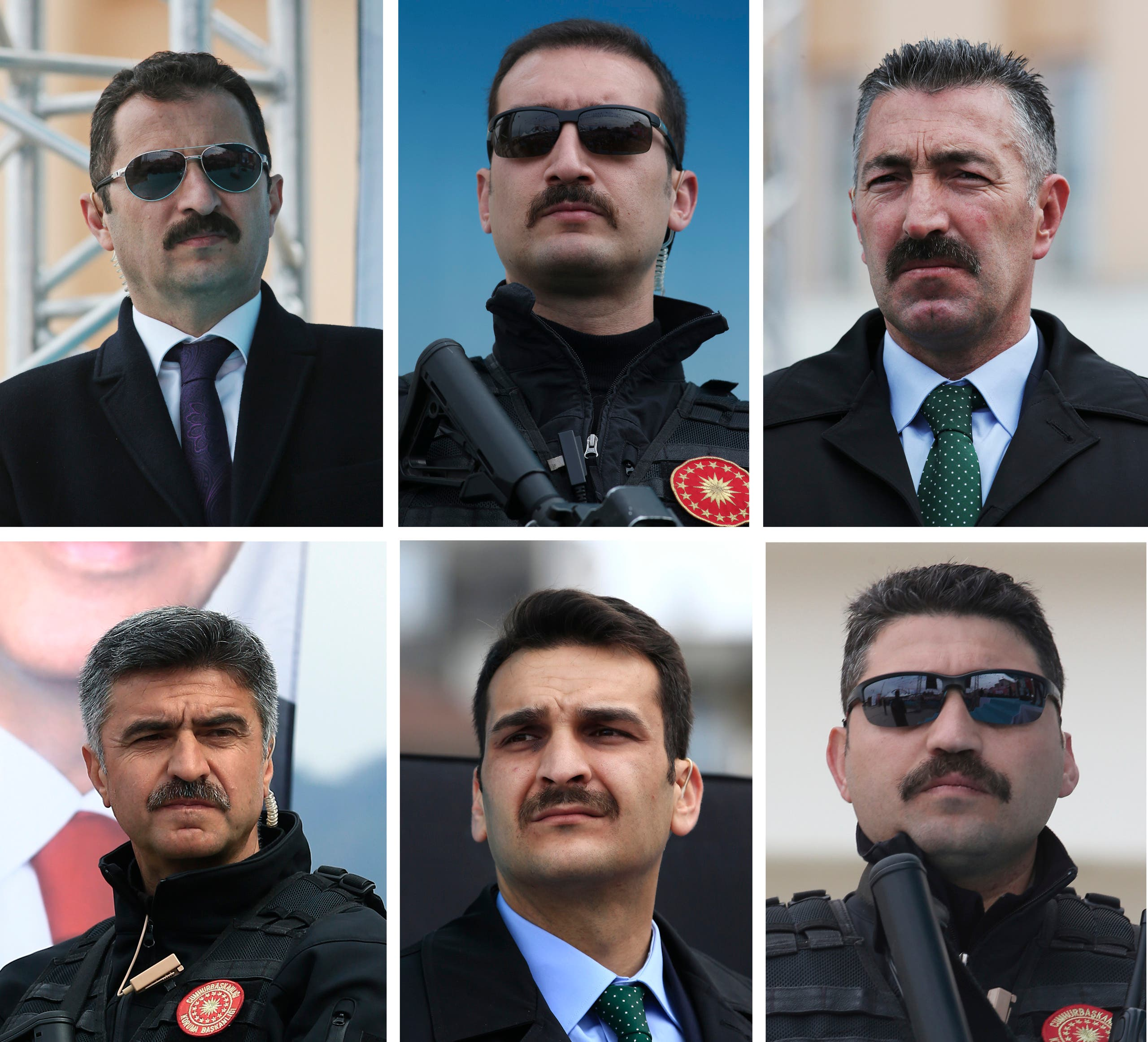 In this combo of images taken on Monday April 3, 2017, security personnel of Turkey's President Recep Tayyip Erdogan stand guard during his speech at a rally in his hometown Black Sea city of Rize, Turkey.