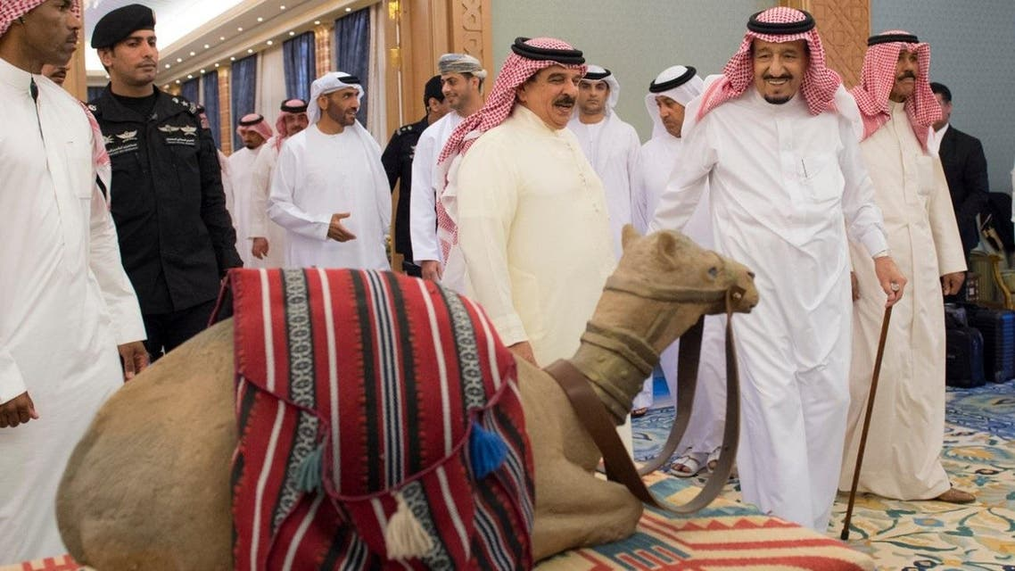 King Salman with Bahrain King. (SPA)